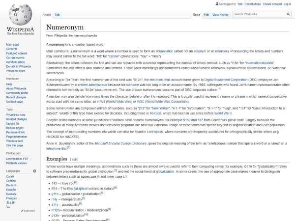 screenshot ofNumeronyms