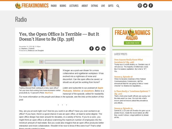 screenshot ofOpen office freakonomics episode