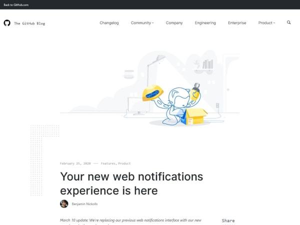 screenshot of GitHub's New Notification UI