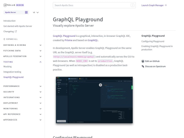 screenshot ofGraphQL playground + Graphical
