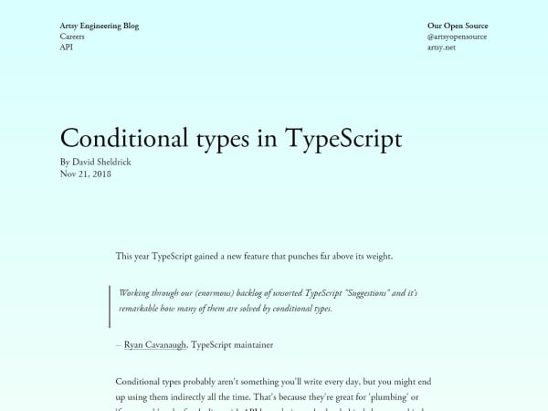 screenshot ofConditional types in TypeScript
