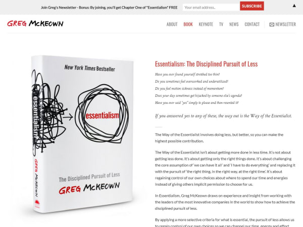 "screenshot of""essentialism"" by Greg McKeown"