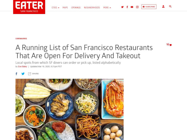 screenshot ofSan Francisco Restaurants That Are Open For Delivery