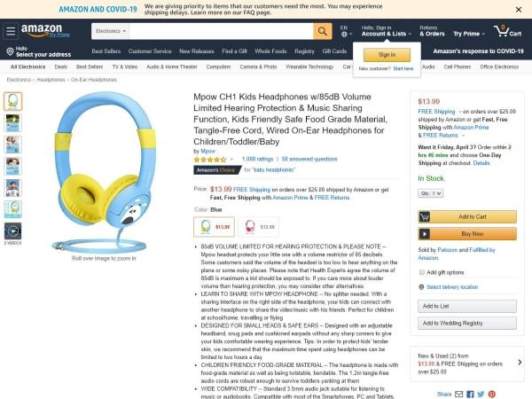 screenshot ofMpow CH1 Kids Headphones
