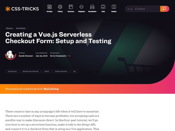 screenshot ofCreating a Vue.js Serverless Checkout Form: Setup and Testing