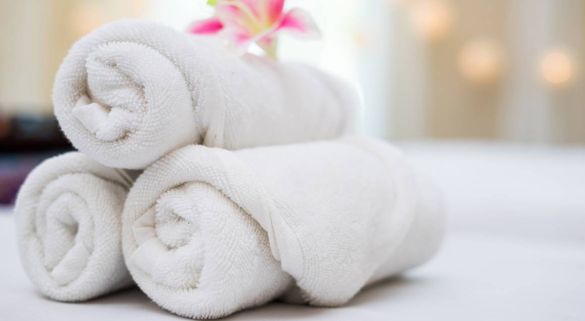 rolled spa towel