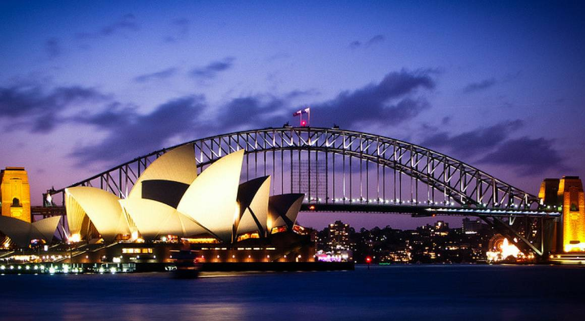 vagabond cruises night view of sydney harbour