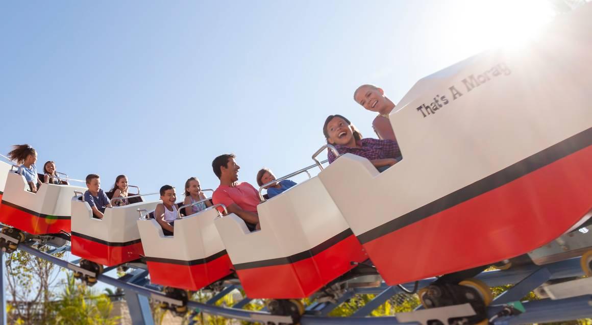 sea world people on roller coaster ride