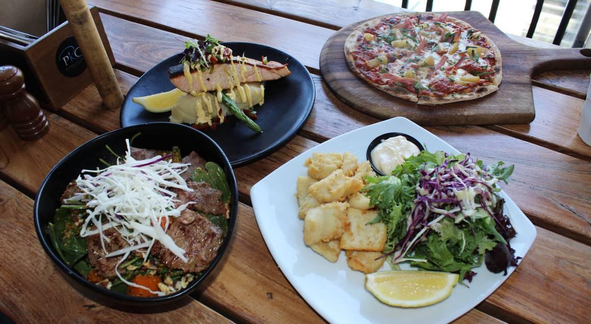 salmon lamb salad squid and hawaiian pizza