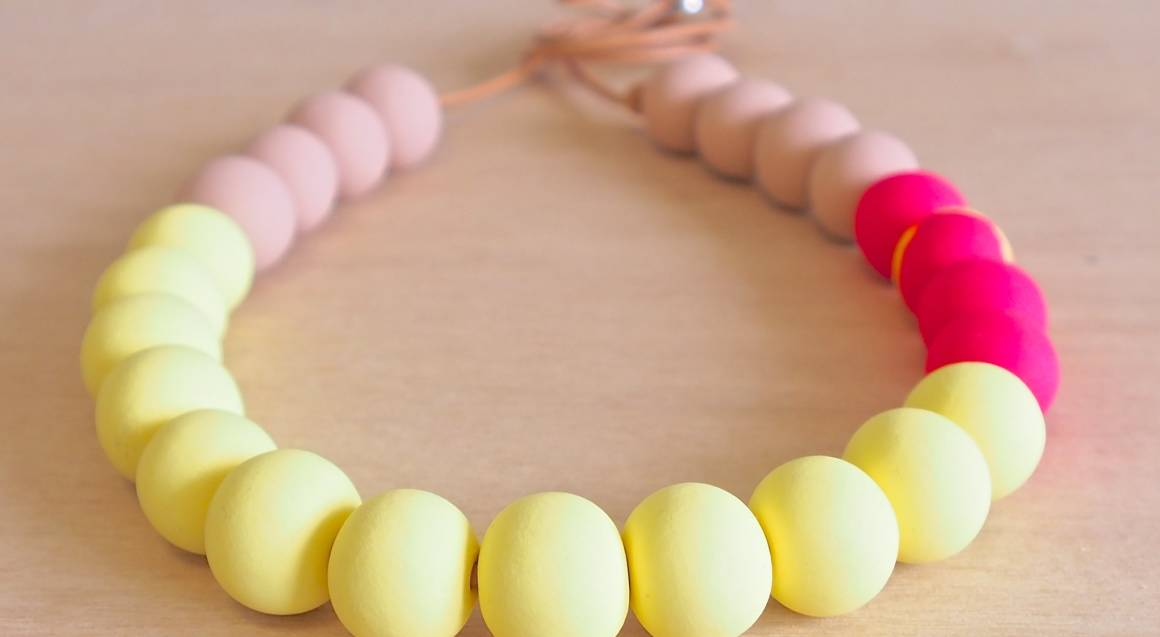 Polymer Clay yellow and pink beaded necklace