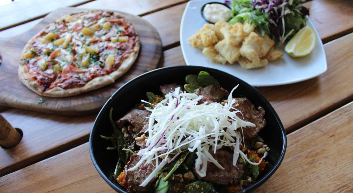 lamb salad squid and hawaiian pizza