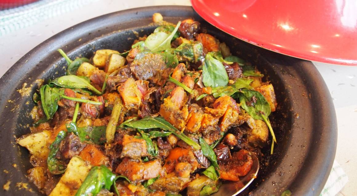 moroccan lamb and vegetable meal