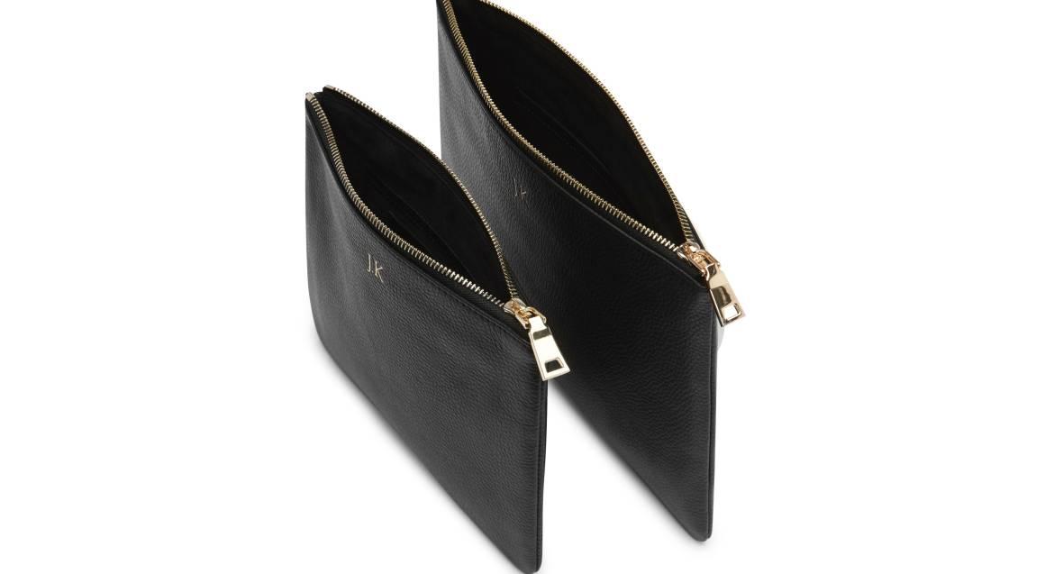 Mon Purse Monogrammed Grainy Leather Pouch Set - Black