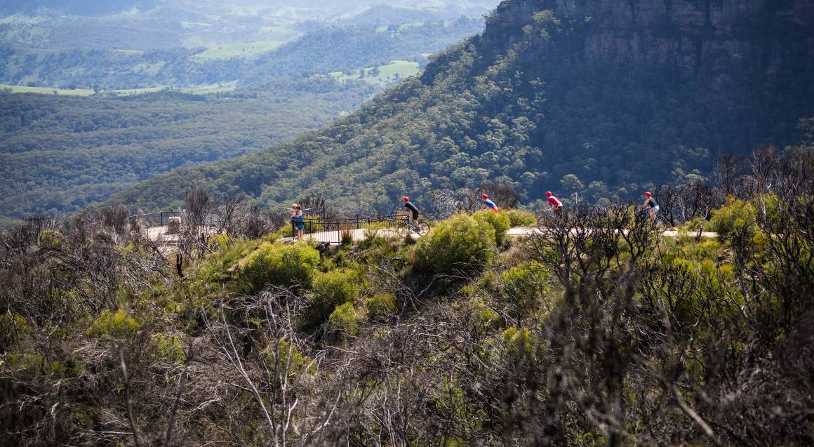 Mountain bike tour four mountain riders cycling towards a lookout point two people are standing at the railing of the lookout pointing out into the distance mountains covered in bushland are in the background
