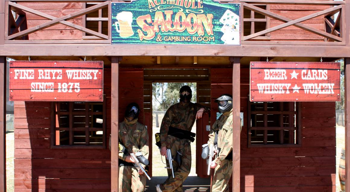 men playing paintball wild west location