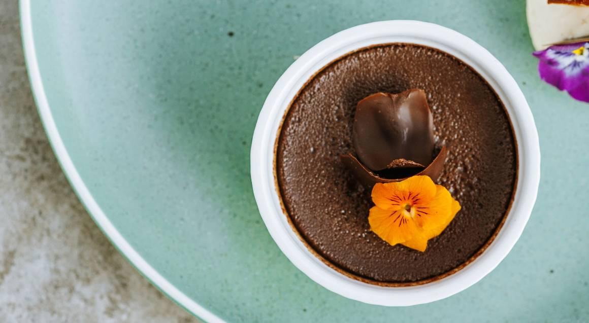 Orange Crisp Choc Pot dessert with Mascarpone