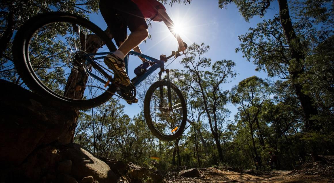 mountain bike tour man on mountain bike jumped through the air on the bike in bushland