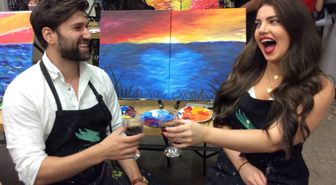 2 Hour Paint and Sip Class - Midweek - For 2