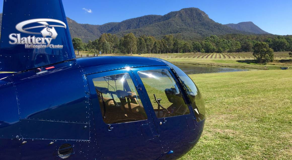 helicopter landed at hunter valley