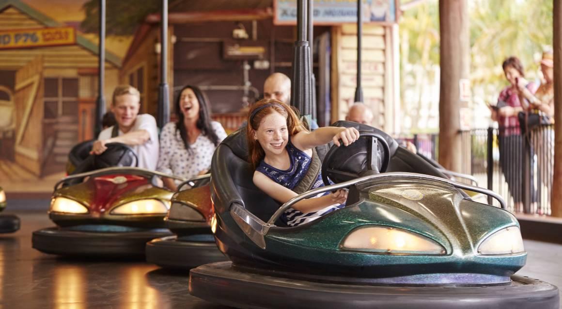 Aussie World family on dodge em bumper cars