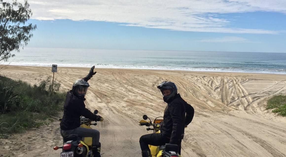 Dirt Bike Hire Sunshine Coast Queensland beach view and riders