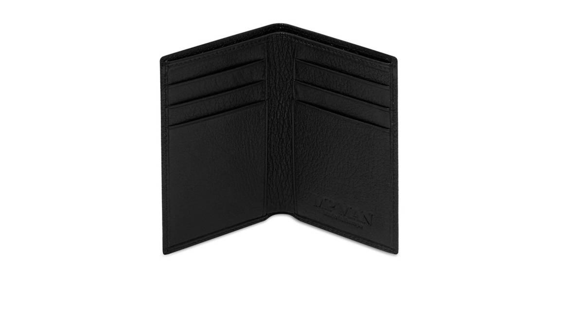 Mon Purse Monogrammed Grainy Leather Men's Wallet - Black