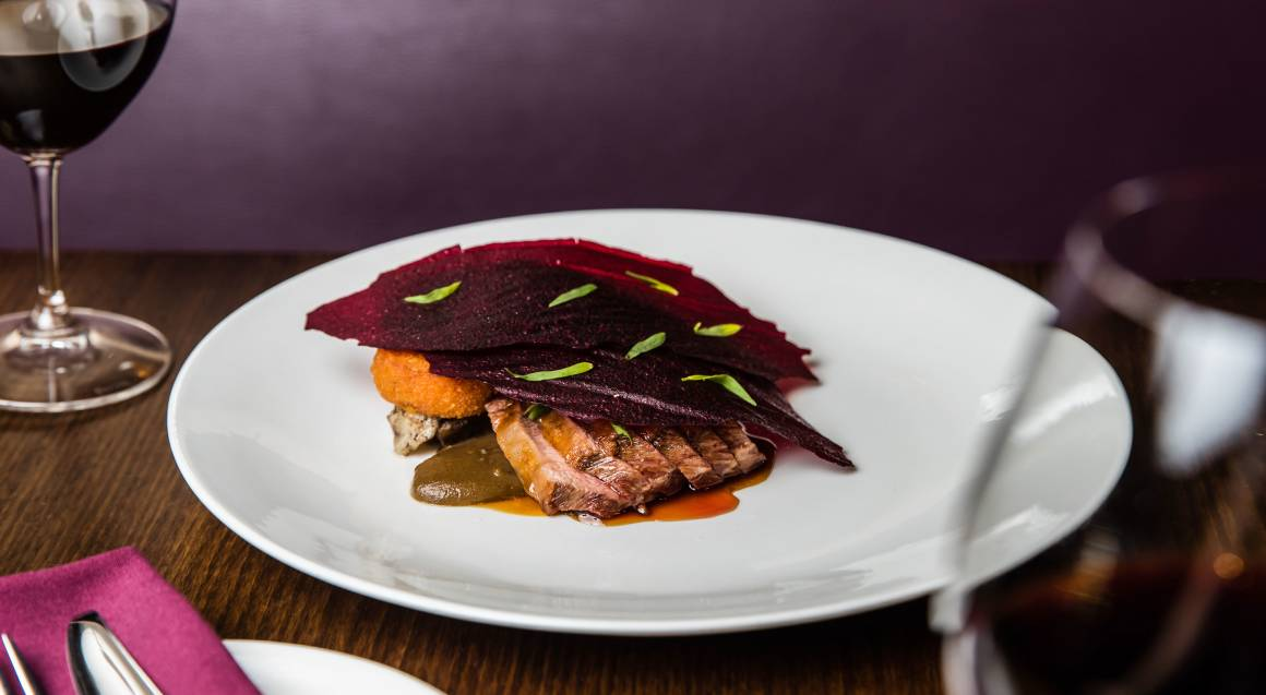 pork fillet with beetroot dish