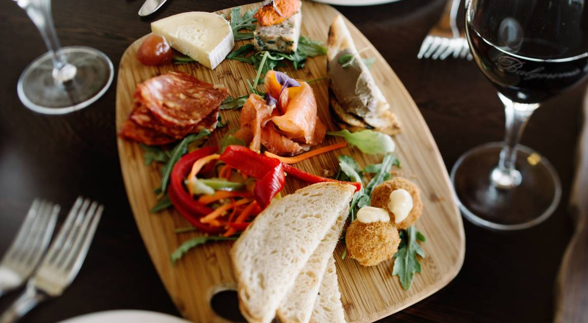 antipasti plate with meats bread and cheese