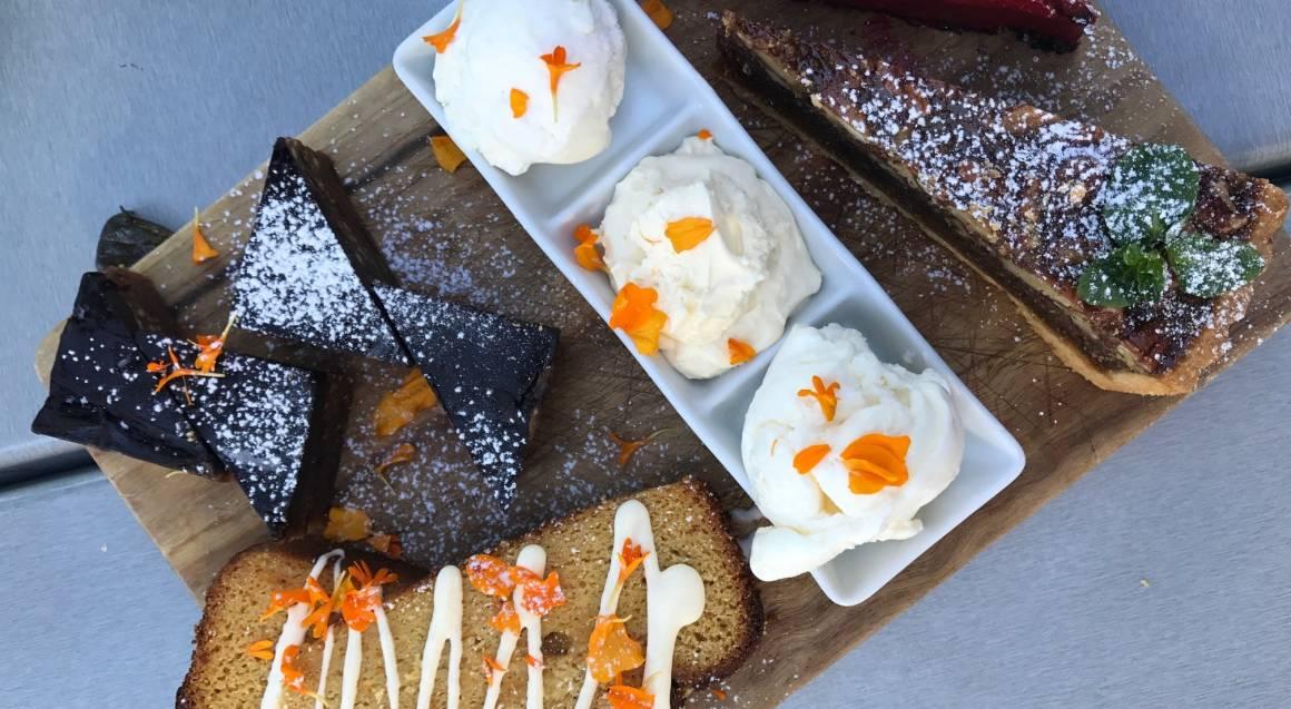 dessert tasting platter brownies banana bread cake ice cream