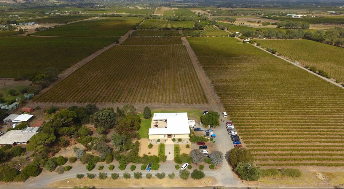 mclaren vale helicopter flight overhead shot of many vineyards and a square building with cars parked around it
