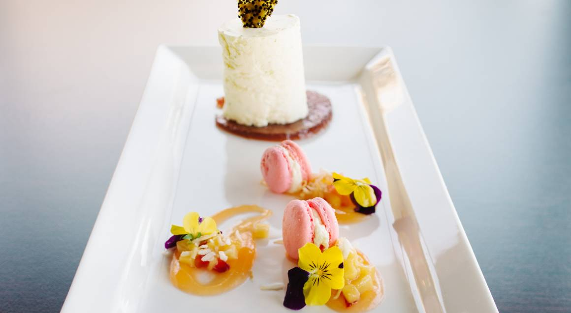 dessert plate with cakes and macaroons