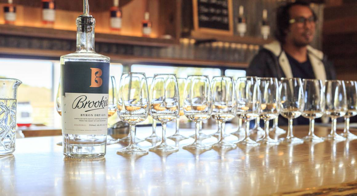 byron dry gin tasting glasses lined up