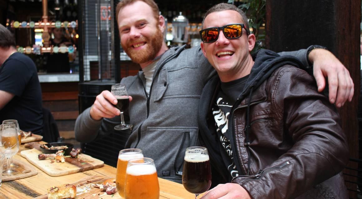 two men drinking beer hunter valley