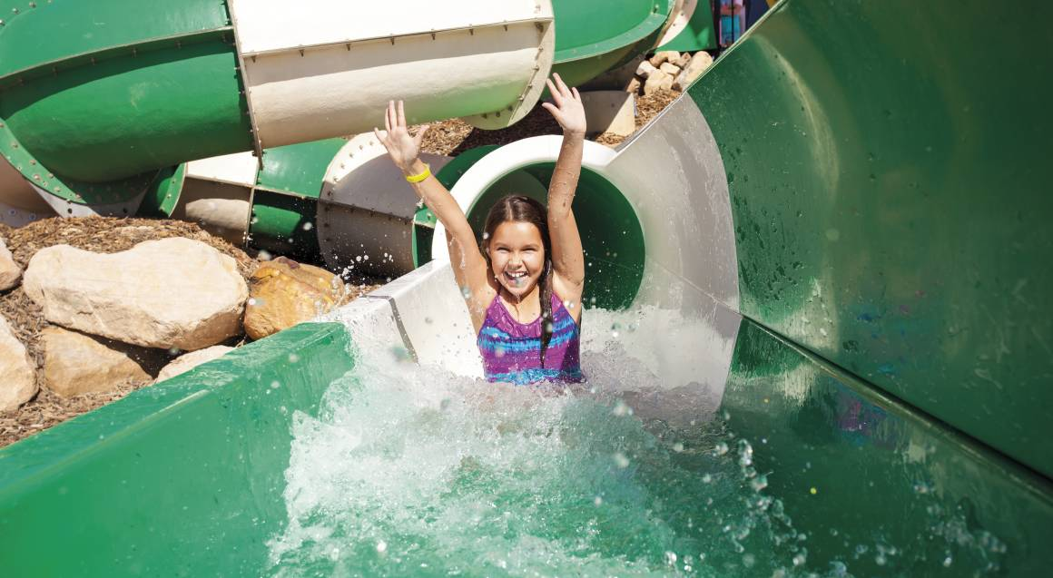 young girl on water slide at wet n wild gold coast
