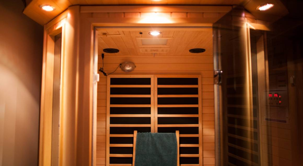 inside spa infrared sauna with seat