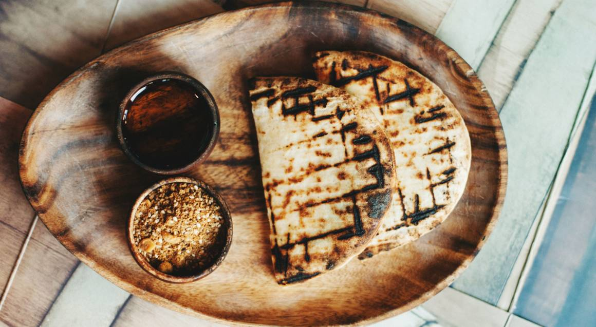 grilled flatbread with olive oil and dukkah