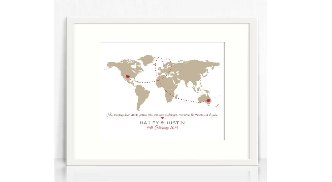Personalised World Map Couples Print with White Frame
