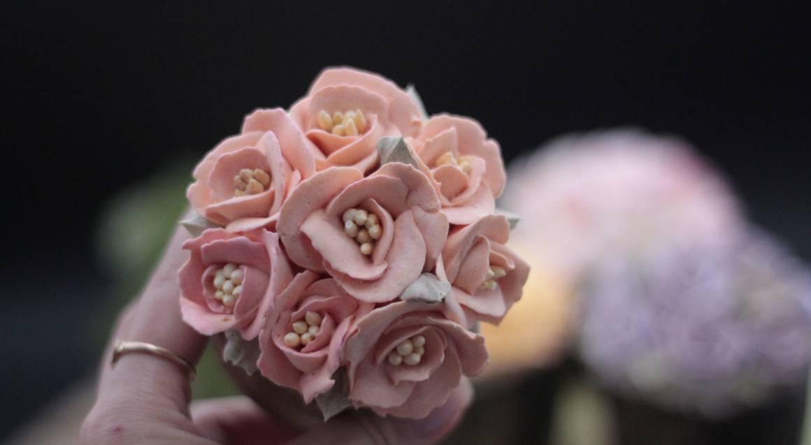 pink sugar flower cupcake