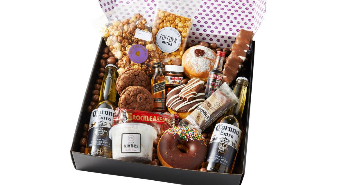 Donuts and Drinks Gift Box with Whisky, Vodka and Corona