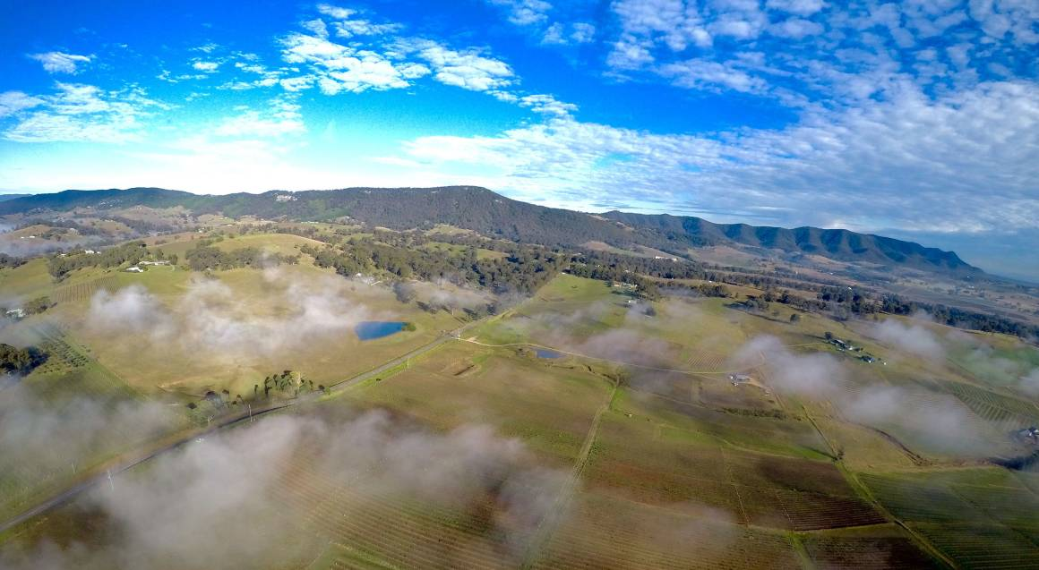 aerial view hunter valley region from helicopter