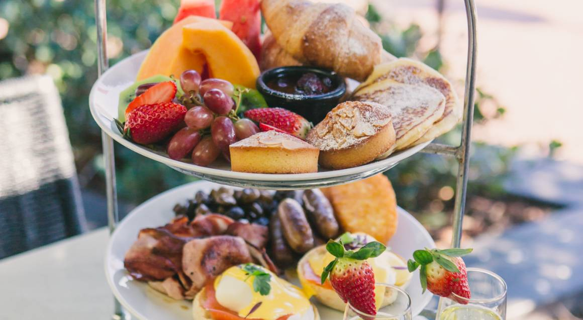 chandon breakfast by the harbour two-tiered share platter