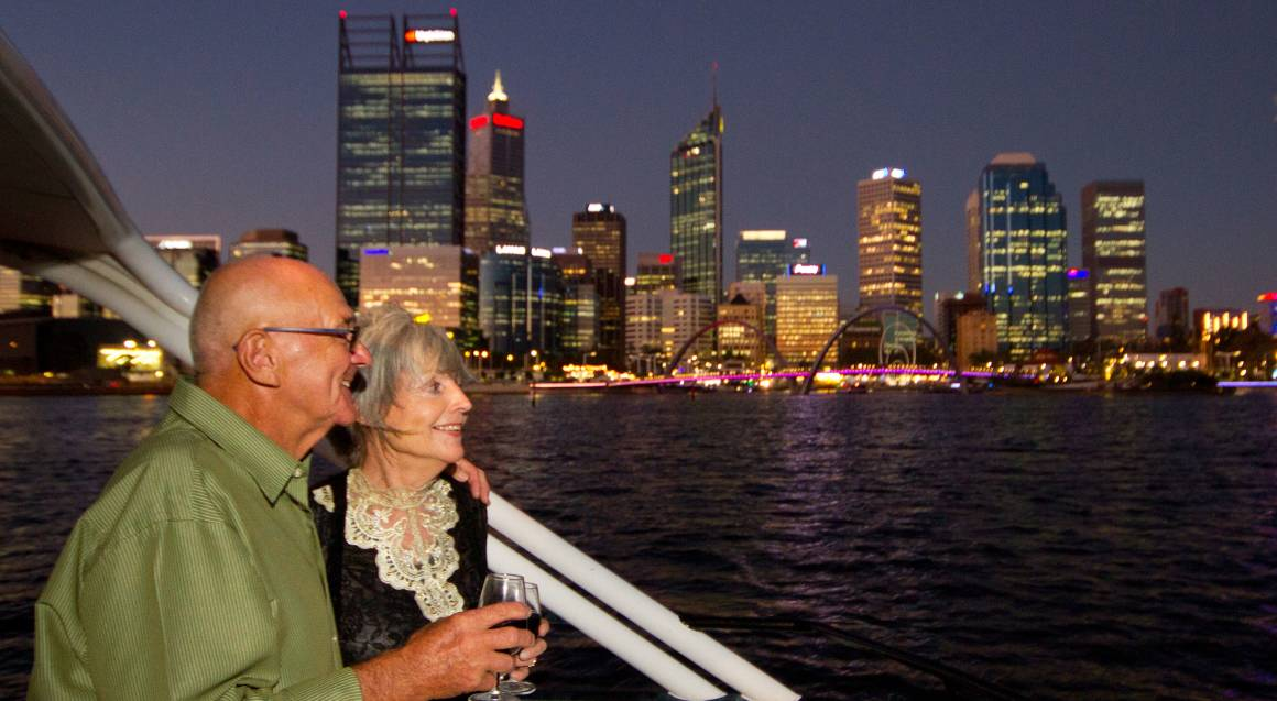 Captain Cook Cruises view of perth skyline with elderly couple