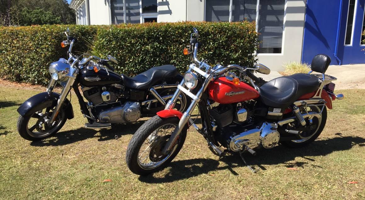 Sunshine Coast Motorcycle Cruise Hire Red and black Harley Davidson