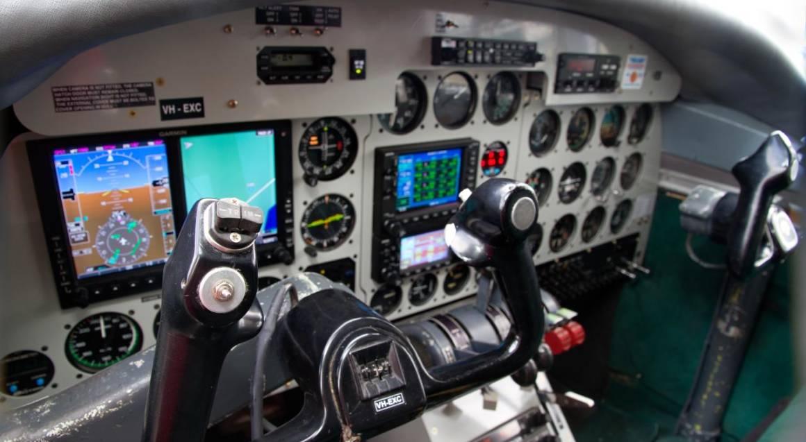 inside the cockpit of modern training aeroplance