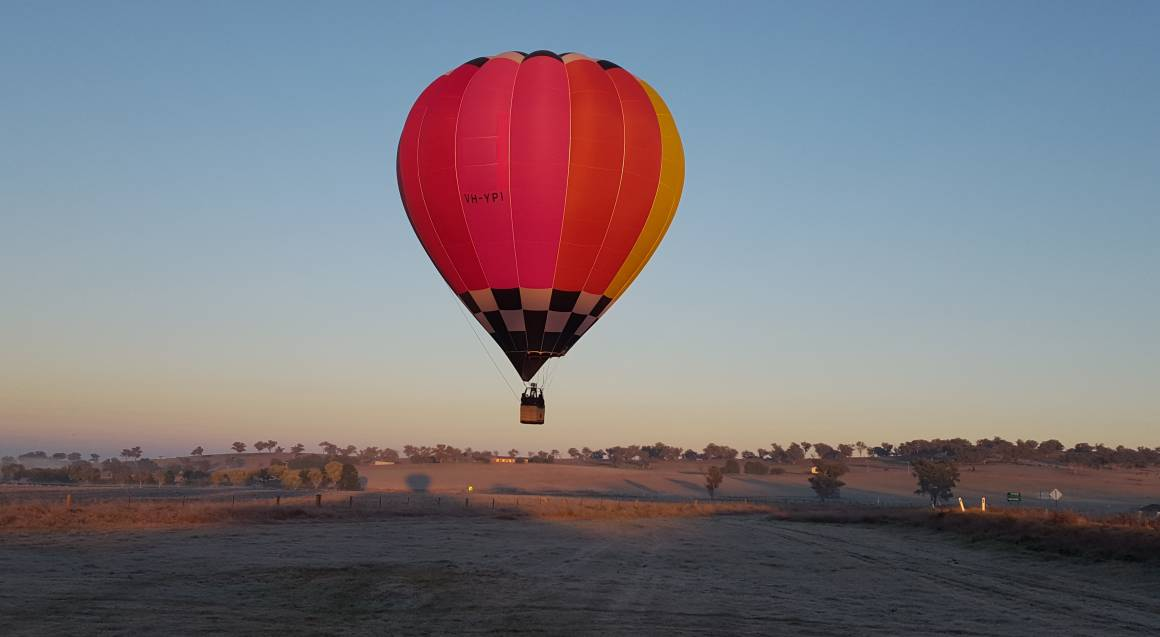hot air balloon over orange