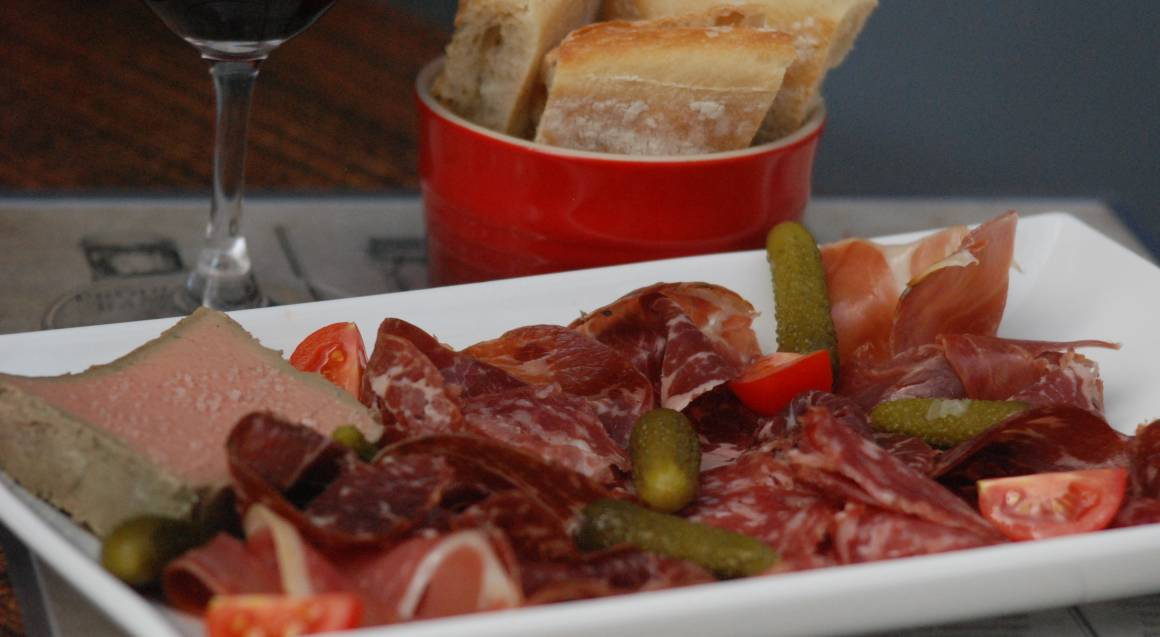 anitpasto meat platter pickles salami prosciutto