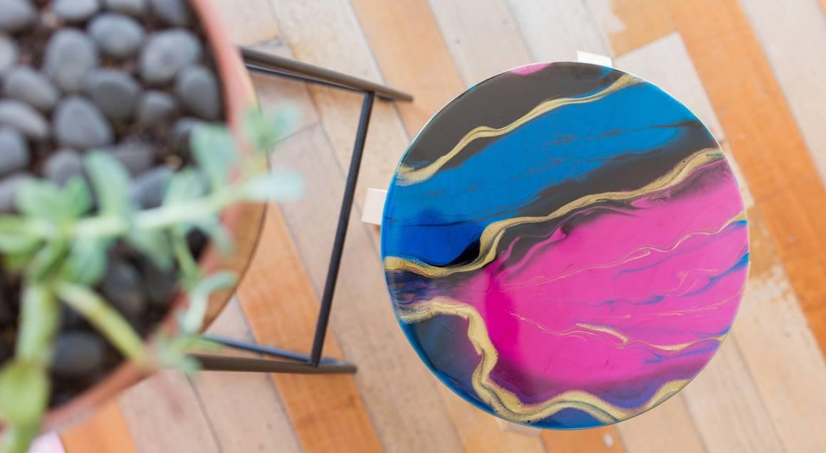 Candu creative resin homeware colourful marble style stools