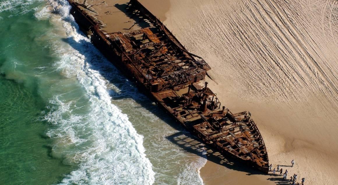 Fraser island queensland beach shipwreck