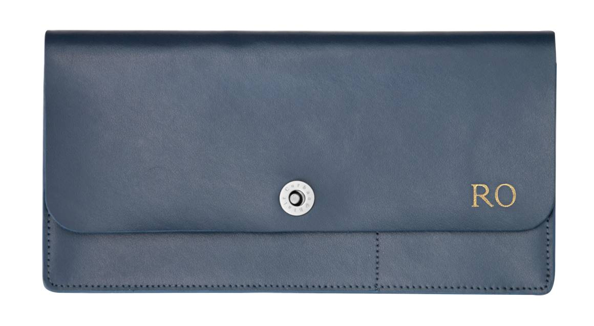 Navy Personalised Leather Travel Accessories Set