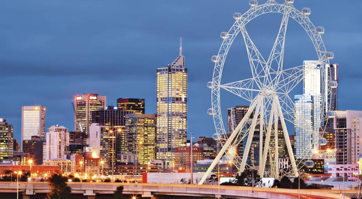 Melbourne Star Observation wheel with view of the city